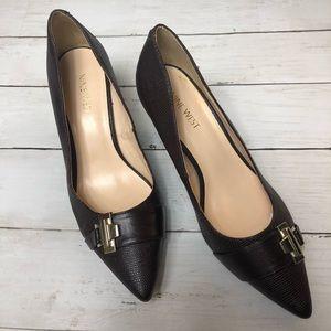 Nine West Dark Brown Textured Pointed Heels Sz 7